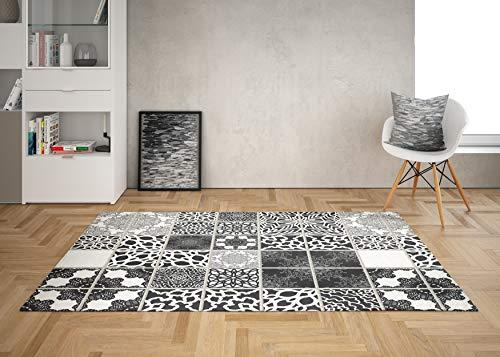 Oedim Alfombra Mosaico Blanco y Negro 5 para Habitaciones PVC | 95 x 120 cm |Moqueta PVC | Suelo vinílico | Decoración del Hogar | Suelo Sintasol | Suelo de Protección |