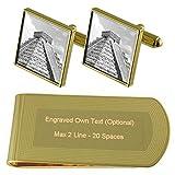 México El Castillo Templo tono Oro gemelos Money Clip grabado Set de regalo