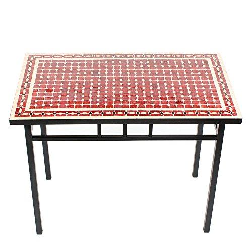 Albena Marokko Galerie Marokkaanse mozaïektafel 60 x 100 cm tuintafel bijzettafel terrastafel tegeltafel rechthoekige tafel 60x100cm Renak: rood/natuur/zwart.