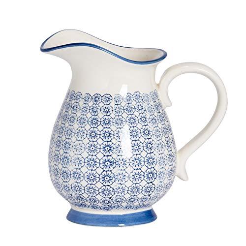 Nicola Spring Hand-Printed Water Jug - Japanese Style Porcelain Serving Pitcher Flower Vase - Navy - 2.2L