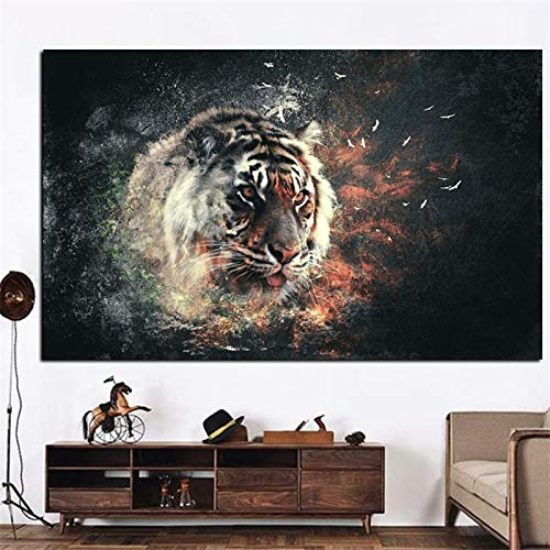 HSFFBHFBH Impresión HD Tigre en Fuego Animales Pintura sobre Lienzo Arte Imagen de Pared Moderna para el Cartel de la Sala de Estar Decoración del sofá Obra de Arte 50x75cm Marco Interior