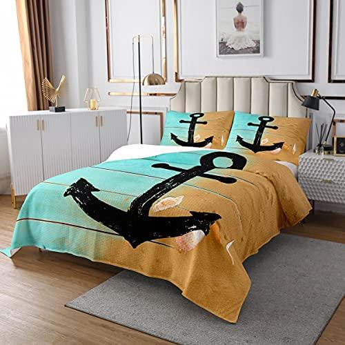 Homewish Juego de colcha de ancla negra para niños y niñas, juego de ropa de cama con diseño vintage gráfico náutico, decoración de dormitorio marino, tamaño individual, color verde azulado