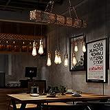 Vintage Pendelleuchte,ONLT Holz Pendellampe Höhenverstellbar Kronleuchter Schwarz Hängelampe Vintage Hängeleuchte Industrial Retro Metall,für Wohzimmer Esstisch Küche Wohnzimmer (10 Köpfe) - 2