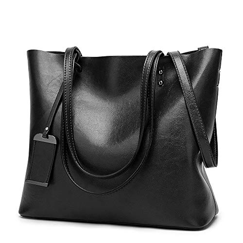 """MATERIAL: High Quality Greased Leather DIMENSIONS: 12.9""""L x 5.1""""W x 11.8""""H.Suitable for you to carry it in daily-use, such as shopping. dating, working, traveling and so on. INTERNAL:1 side zipper pockets for wallets ,1 middle zipper pockets, 2 compa..."""