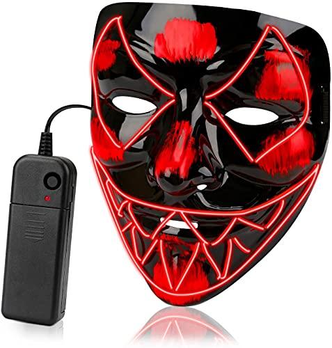 XLH Neon Led Luminous Joker Mask Costume Props Carnival Festival Light Up Wire Mask Mask Halloween Christmas Decor,Red