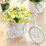 Yyhmkb Pequeñas Flores Artificiales Jardín Nostálgico Bicicleta Hecha A Mano Flor Artificial Florero De Ratán Cesta Decoración Soporte De Planta Mini Jardín para El Hogar Decoración De La Boda 3