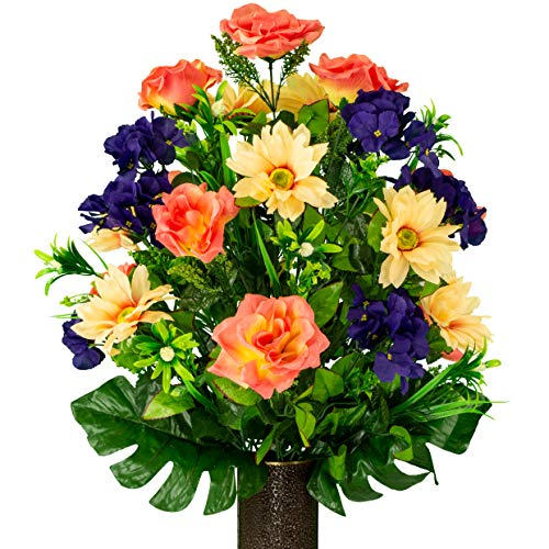 Sympathy Silks Artificial Cemetery Flowers – Realistic Outdoor Grave Decorations - Non-Bleed Colors, and Easy Fit -Salmon Rose with Peach Daisy