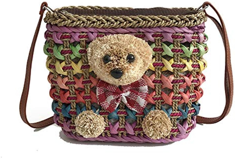 Knitted Rainbow Straw Bag Summer Bohemia Fashion Women's Woven Handbags Holiday Shoulder Satchel