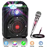 Portable PA Speaker System Wireless Bluetooth Karaoke Machine Rechargeable Speaker Toys for Kids & Adults,with Disco Ball, Wired Microphone