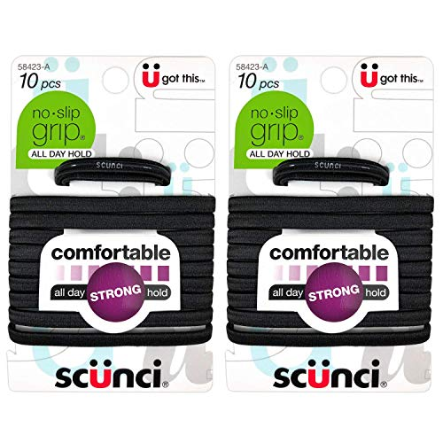 SCUNCI - Elastic No-Slip Ponytail Holders Black - 10 Pack