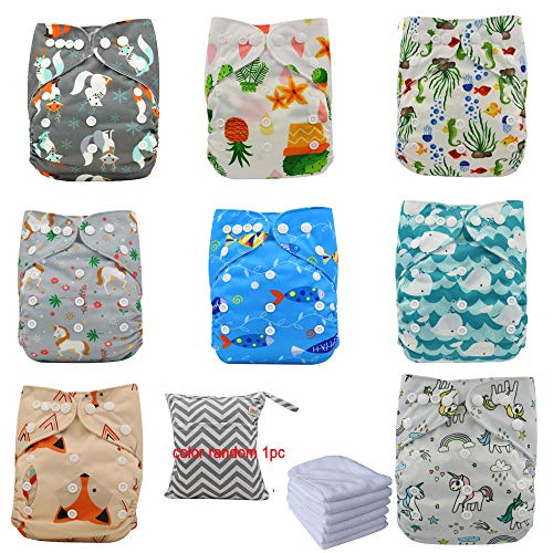 Ohbabyka Reusable Washable Baby Boys/Girls Pocket Cloth Diapers with 1pc Insertohbabyka Wiederverwendbare...