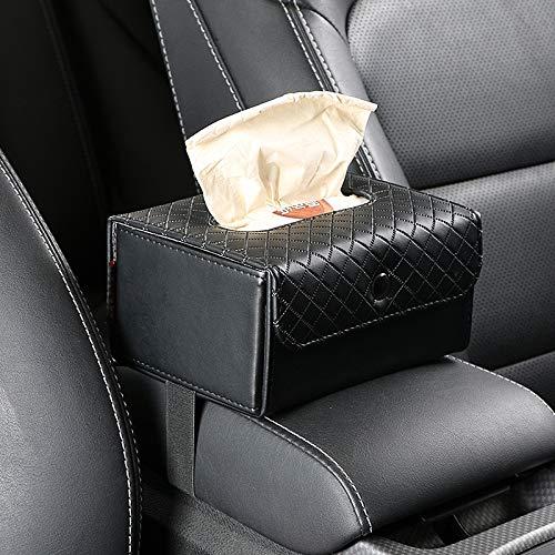 TKTK auto-accessoires DERANFU multifunctionele auto achterbank Hanger armsteun doos lederen handdoek doos (zwart) Zwart
