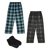 Mad Dog Boy's 2-Pack Pajama Pants + Slipper Socks (Sizes 4-16) (Plaid, Large (10-12))