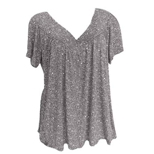 Women Plus Size Short Sleeves V-Neck Print Blouse Pullover Tops Shirt