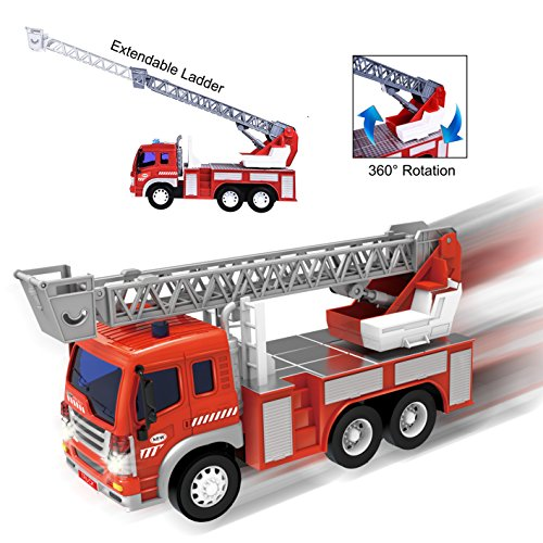 Friction Powered Firefighter Rescue Fire Truck 1:16 Toy Vehicle with Lights, Sounds, Extendable...