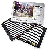 Juego de 48 lápices de colores, numerados, con caja de metal - Lápices de colores Ohuhu para libros de colorear - Lápices de colores para adultos y para niños, regalo ideal para artistas