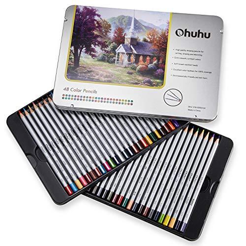 48 Farbstifte im Set, nummeriert, mit Metalldose - Ohuhu Farbstifte für Malbücher für Erwachsene - Farbstifte für Erwachsene und für Kinder, Geschenk für Künstler