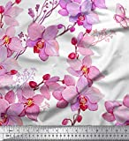 Soimoi Weiß Baumwolle Batist Stoff Vogel & Orchideen Blume