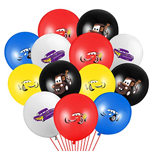 PANTIDE 50 Packs Race Car Balloons, Racing Theme 12Inch Assorted Colors Latex Balloons Bouquet with Ribbons, Let's Go Racing Party Favors Decorations Supplies for Kids Boys Birthday Baby Shower