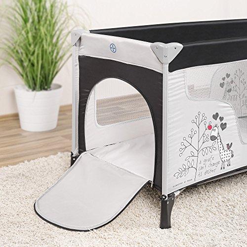 Fillikid Baby Reisebett Giraffe - klappbar, mit Rollen, Matratze, Transporttasche und seitlichem Einstieg - 3