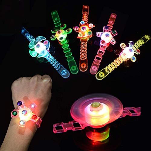 Gshy - Lote de 5 anillos de fiesta, para niños con LED para encender pulseras de precio en clase en la mano y rotación de efectos de alivio del estrés de ansiedad para la celebración de cumpleaños