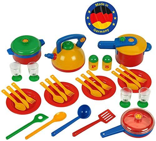 Theo Klein 9194 Emma's Kitchen großes Topfset I Buntes, robustes Geschirr I Mit Schnellkochtopf, Kochlöffel, Pfanne und vielem mehr I Spielzeug für Kinder ab 2 Jahren