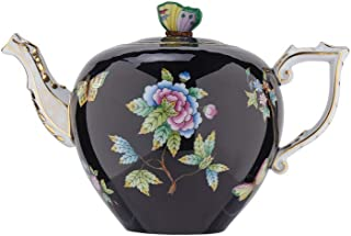 HEREND Queen Victoria Black Teapot with Butterfly Knob