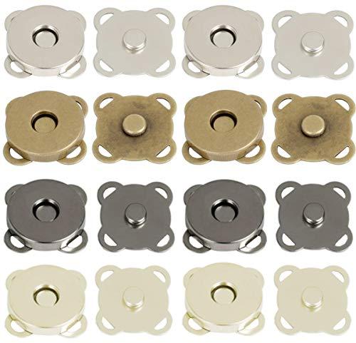 Liuer 40PCS Botónes Magneticos,Botón de Cierre Magnético Broches para Coser Artesanía Monederos Bolsos Ropa de Cuero(4 Colores,14mm)