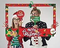 LUCKKYY クリスマスフォトブース小道具フレーム クリスマス新年パーティー用品 パーティーテーマデコレーション