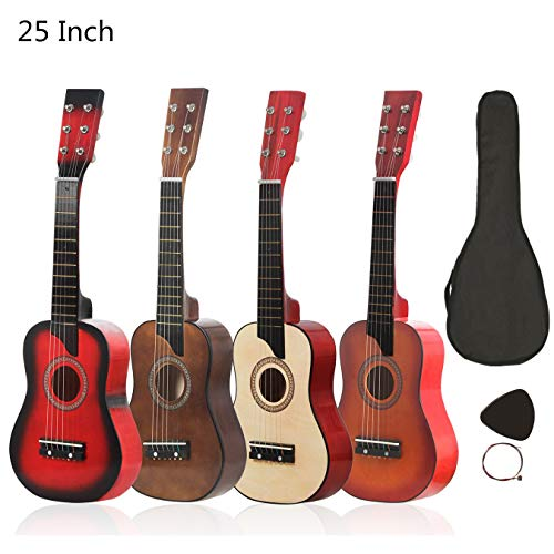 YiPaiSi 25 Inch Acoustic Guitar, Basswood Natural Acoustic Guitar, Solid Wood Acoustic Guitar Beginner Kit Starer Kit with Gig Bag, Strings, Picks (Red)