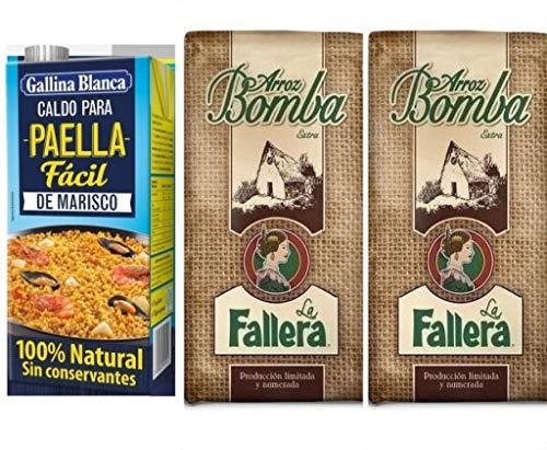 2kg Riso Speciale Bomba Paella la Fallera.- D.O. Valencia + 1000ml Brodo per Paella di pesce