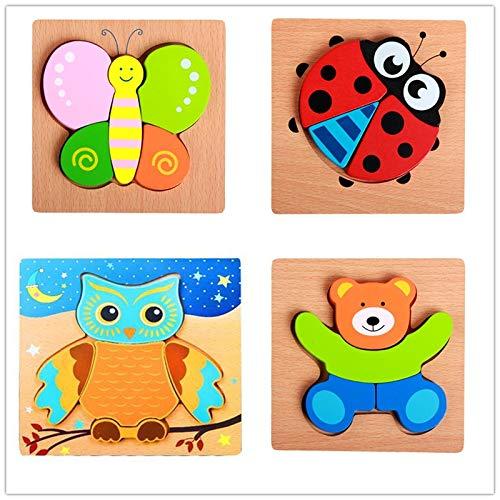 iLink Rompecabezas de madera de seguridad para niños pequeños de 1, 2, 3 años, 4 juegos educativos Montessori Aprendizaje para niño y niña