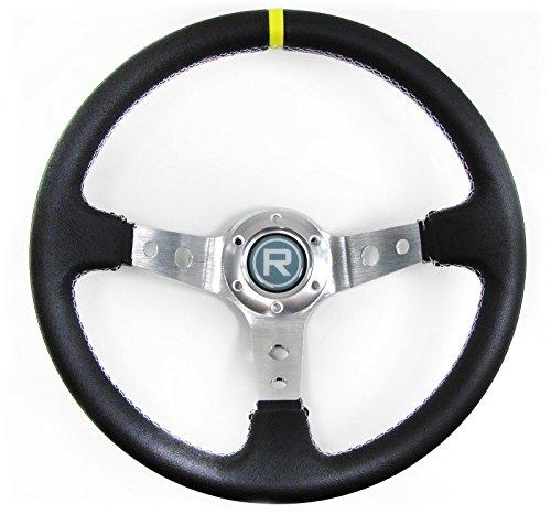 Carparts-Online 29559 350mm Sport Lenkrad geschüsselt Echt Leder Alu schwarz Rennsport TYP 2