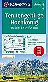 KOMPASS Wanderkarte Tennengebirge, Hochkönig, Hallein, Bischofshofen 1:50 000: 4in1 Wanderkarte 1:50000 mit Aktiv Guide und Detailkarten inklusive ... in der KOMPASS-App. Fahrradfahren. Skitouren.