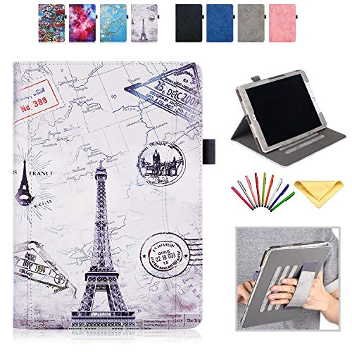 Uliking iPad 10.2 2019 7th Generation/iPad Air 3 10.5' 3rd Gen 2019/iPad Pro 10.5 2017 Case with Pencil Holder Hand Strap Smart Folio Stand PU Leather Document Cover [Auto Wake/Sleep], Eiffel Tower