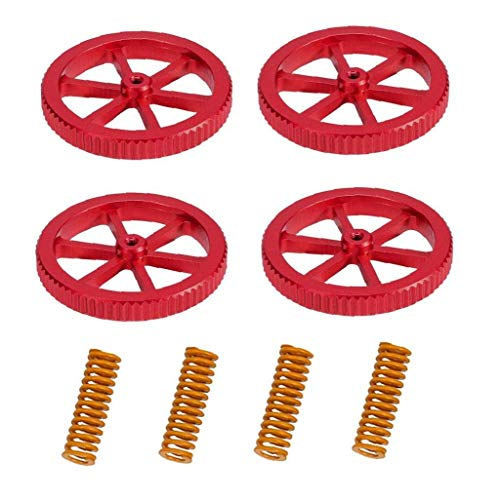 Upgraded 4PCS Creality Aluminum Hand Twist Leveling Nut with 4PCS Hot Bed Die Springs for Ender 3/3 Pro/3 V2, Ender 5/5 Plus/Pro, CR-10, CR10S/10S Pro, CR 20 3D Printer