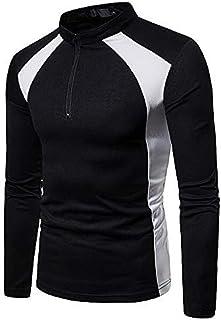 WINJUD Men's Tops Long Sleeve Stand Collar Slim Blouse Zipper Patchwork T-Shirt