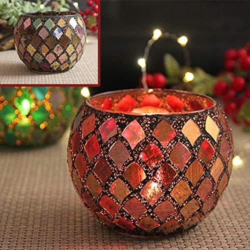 PeiQiH Kerzenhalter Mosaik Teelicht Kerzenständer, Glas Klar Handgefertigte Kerzenleuchter Romantisch Für Oil Düfte Party Oder Vase Stifthalter Topfpflanzen Schale-a 10.5x7x8cm