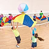 Sonyabecca 4pcs 4ft Parachute Volleyball Set Team Games Kids Play Parachute with 6 Handles Inflation Ball and...