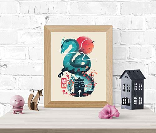 Spirited Away Art Print - Studio Ghibli Wall Art 8 x 10 Unframed Japanese Anime Artwork Haku Dragon Print Hayao Miyazaki Wall Hanging Cool Movie Home Decor, Chihiro Bathhouse Illustration