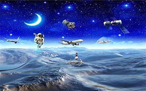 MINCOCO aangepaste 3D behang kinderen kamer muurschildering ruimte maan astronauten 3D foto schilderij tv achtergrond behang voor muur 3D 250x175cm(98.4x68.9inches)