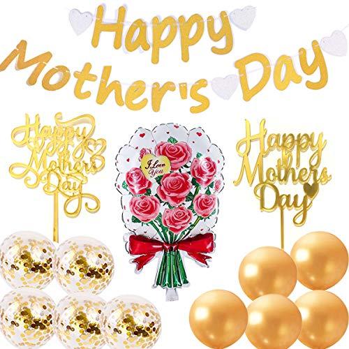 Happy Mother's Day - Striscione dorato per festa della mamma, decorazioni per la festa della mamma, 2 decorazioni per torte dorate, 1 palloncini a fiori in alluminio, 10 palloncini in lattice
