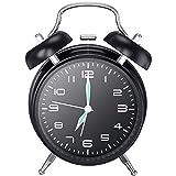 目覚まし時計 大音量 夜光 おしゃれ アラーム—Mreechan バックライト 静か 連続秒針 スヌーズ 電池式 置き時計 卓上時計(ブラック)