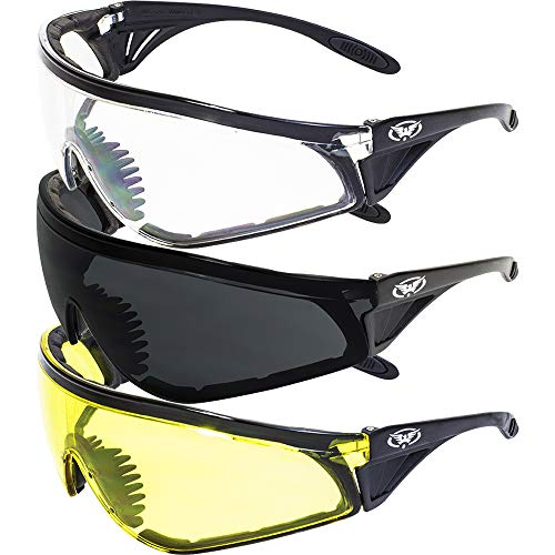 Set of 3 PAIRS: PADDED MOTORCYCLE RIDING GLASSES - DAY NIGHT DAWN DUSK SMOKED CLEAR YELLOW...