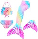 Le SSara Mermaid Tail Swimmable Bikini Swimming Costumes with Colorful fin 4pcs Sets for Little Girls Kids Child and Women (110, GB15 Pink)