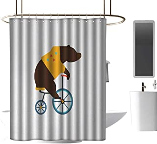 coolteey Shower Curtains with Birds on Them Bicycle,Big Teddy Bear Icon of Circus Riding Bicycle with Hipster Costume Animal Image,Brown Yellow,W72 x L84,Shower Curtain for Women
