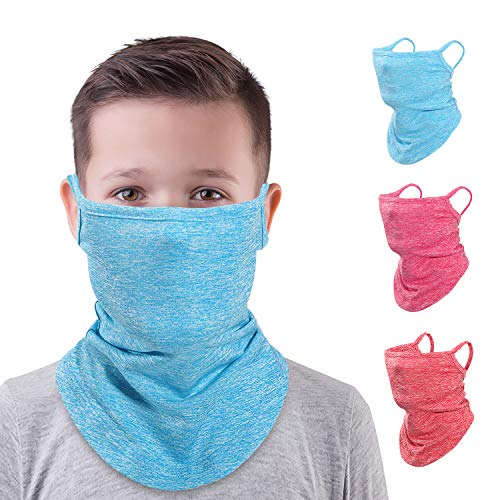 MoKo Kinder Funktionstuch mit Ohrschlaufen, 3 Pack Sturmhaube UV Sonnenschutz Windschutz Gesichtsmaske Outdoor Atmungsaktive Maske Fahrrad Bandana Halstuch für Mädchen Junge - Rot & Blau & Schwarz