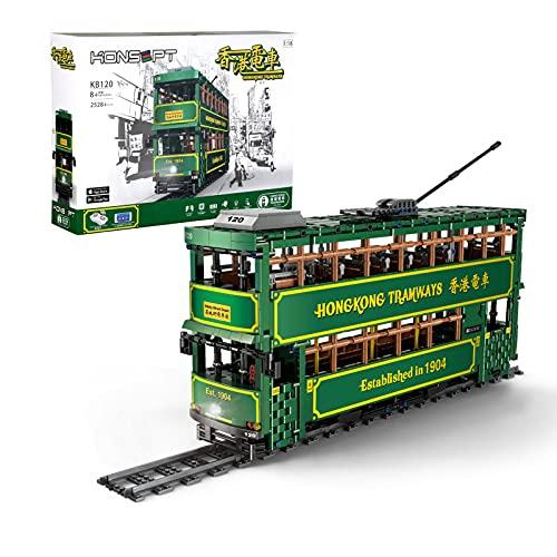 WANZPITS Construir Hong Kongtramways KB120 Kit De Construcción; Impresionante Transporte Track Tram Modelo De Autobús Retro Retro Compatible con Lego Technic,(2528 Pieces)