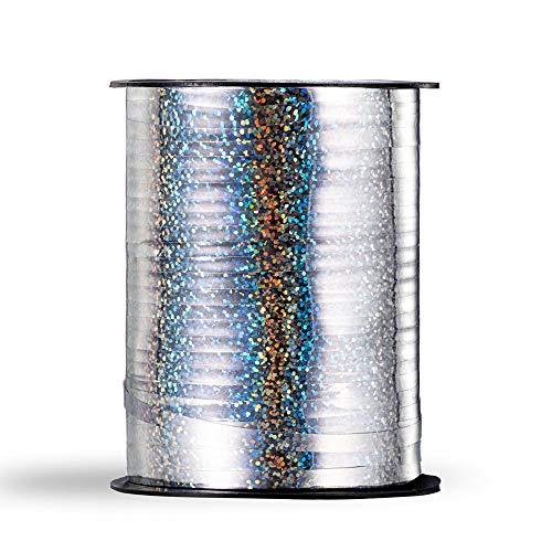 Molshine cinta de globo láser suave,de 500 yardas,rollo de cuerda de globo rizado brillante para bricolaje,fiestas,decoración de bodas, embalaje de regalo (plata)