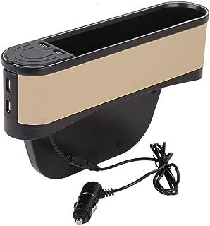 Car Console Side Pocket Organizer,Universal Seat Storage Gap Filler Side Pocket Car Seat Gap with Atmosphere Light and 2 U...